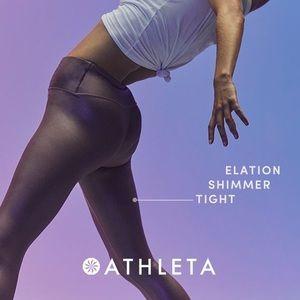 Athleta Elation shimmer tights Silver NWT✨